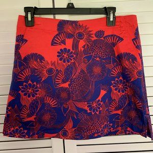 Lady Hagen Red Blue Print Skort with pockets SZ 8